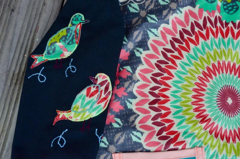Blouse peinture oiseaux